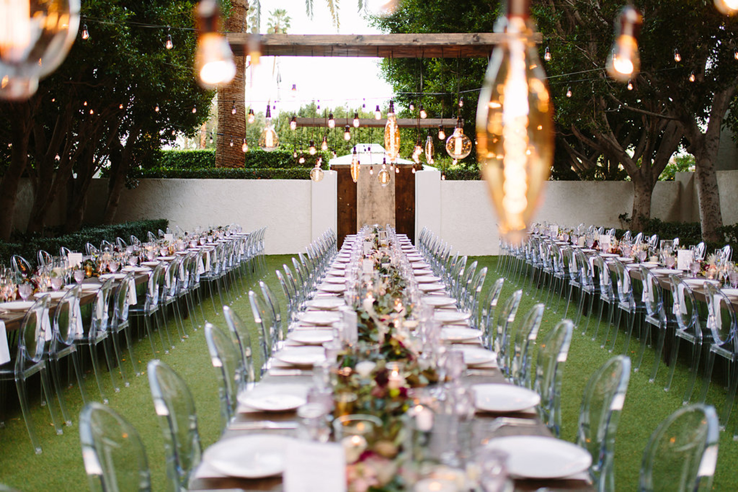 Blush and burgundy table at wedding