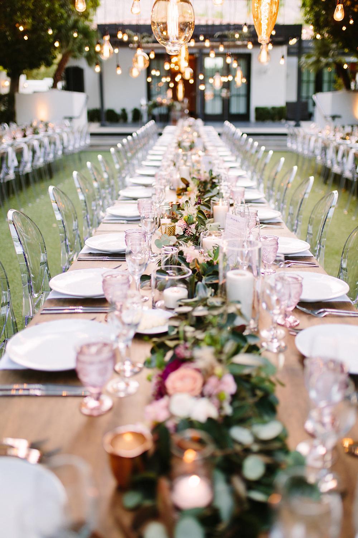 Blush and burgundy table setting