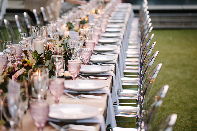 Blush and acrylic table setting