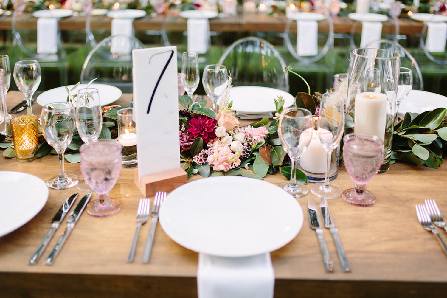 Marble table number at wedding place setting