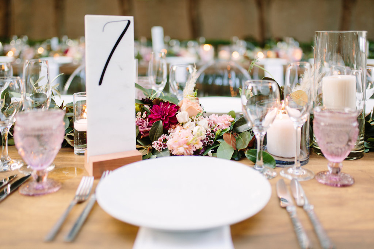 Marble table number at wedding
