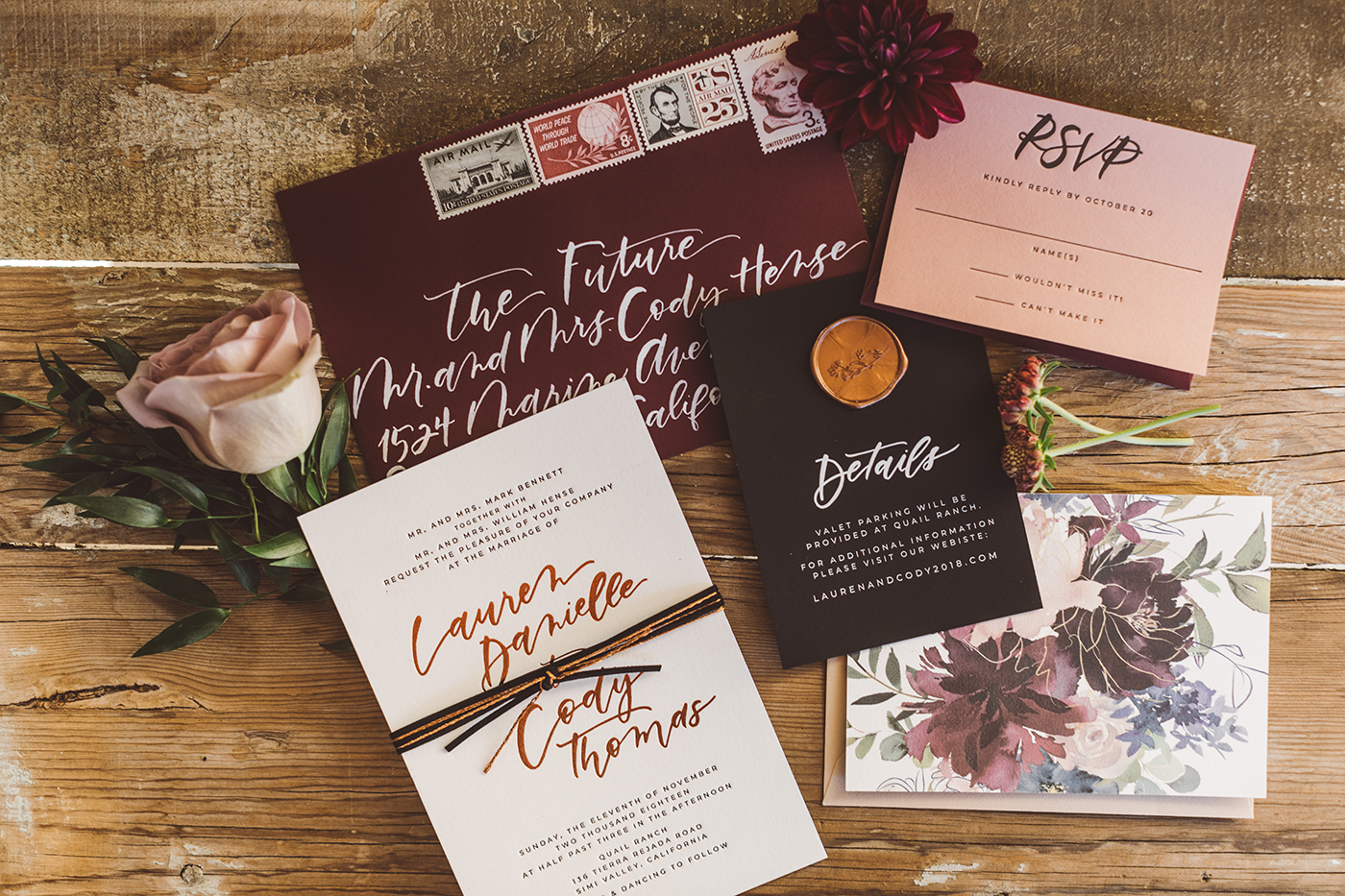 Burgundy and black wedding invitations