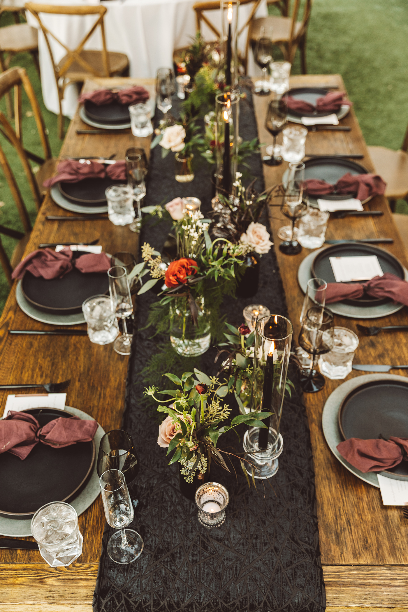 Black, burgundy table setting