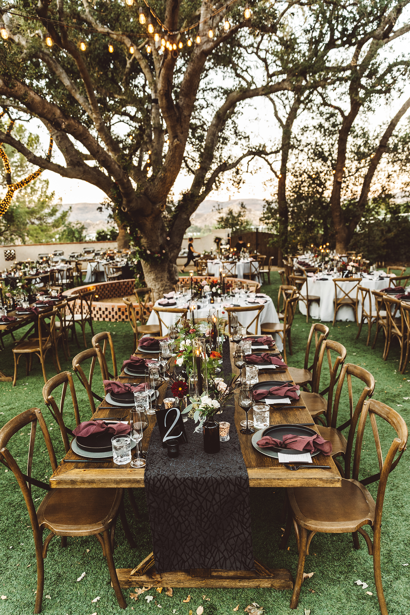 Wooden farm table wedding