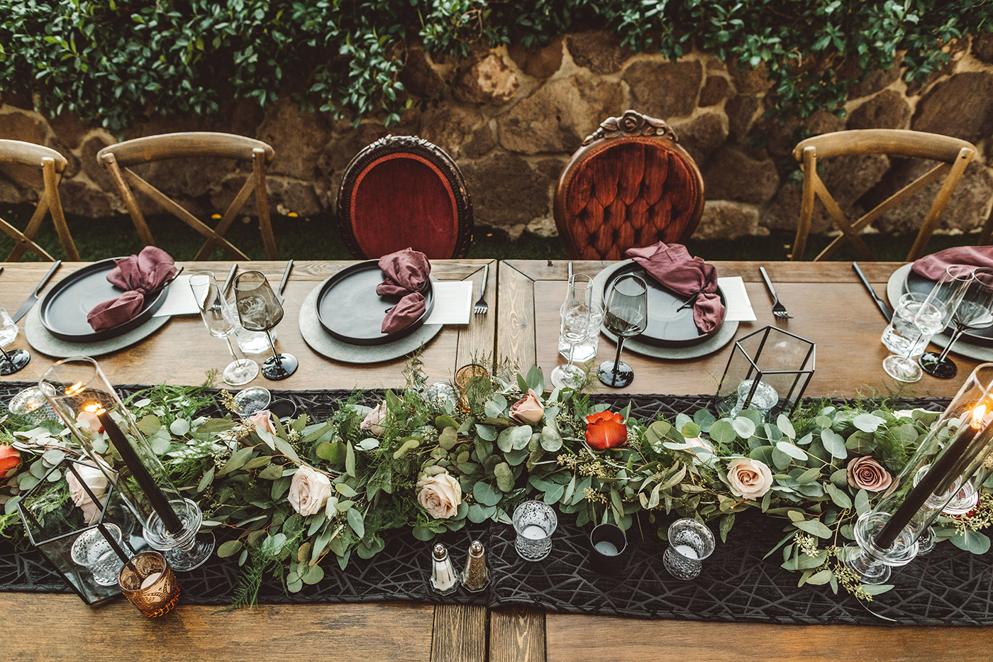 Burgundy head table