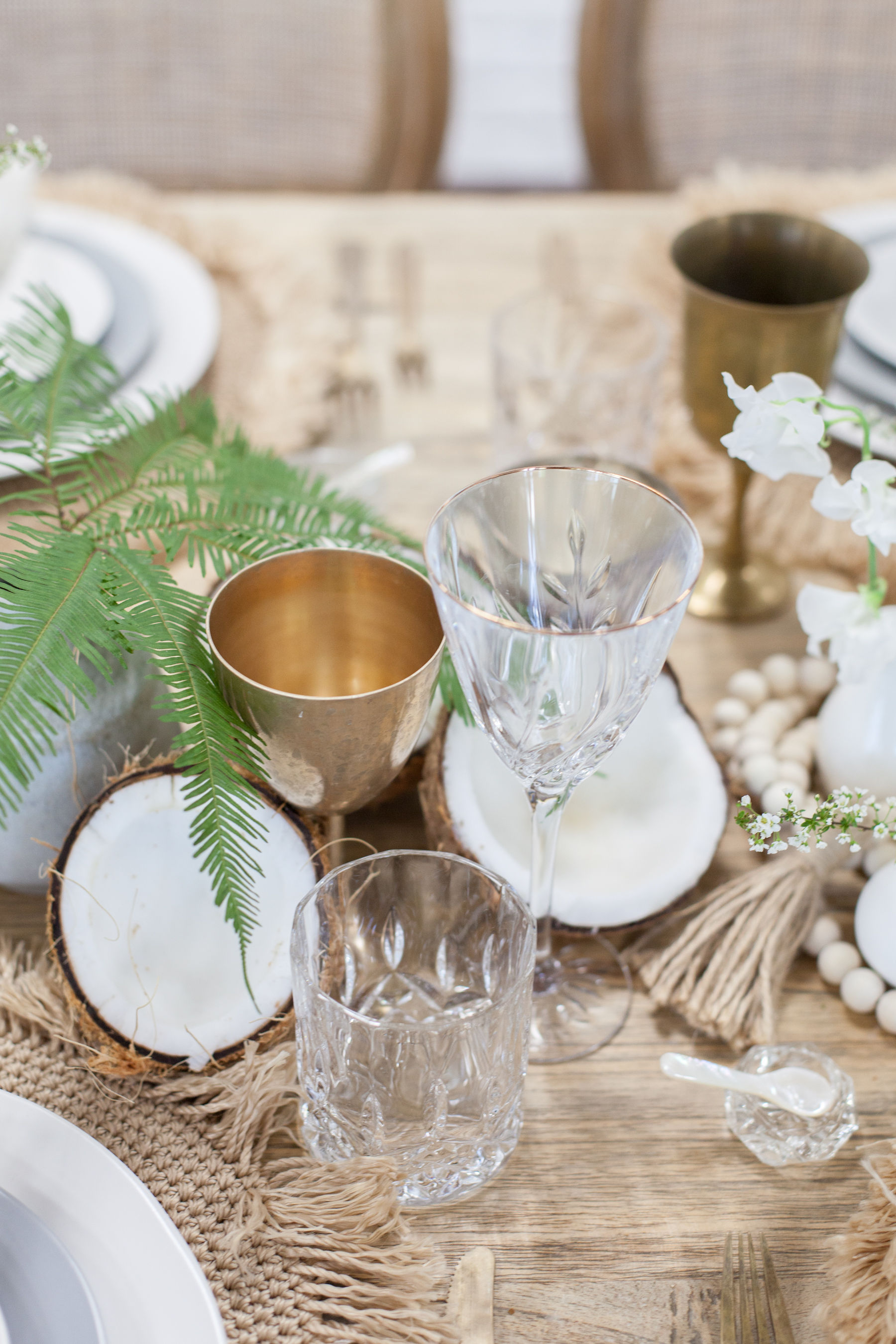 Brass and crystal goblets