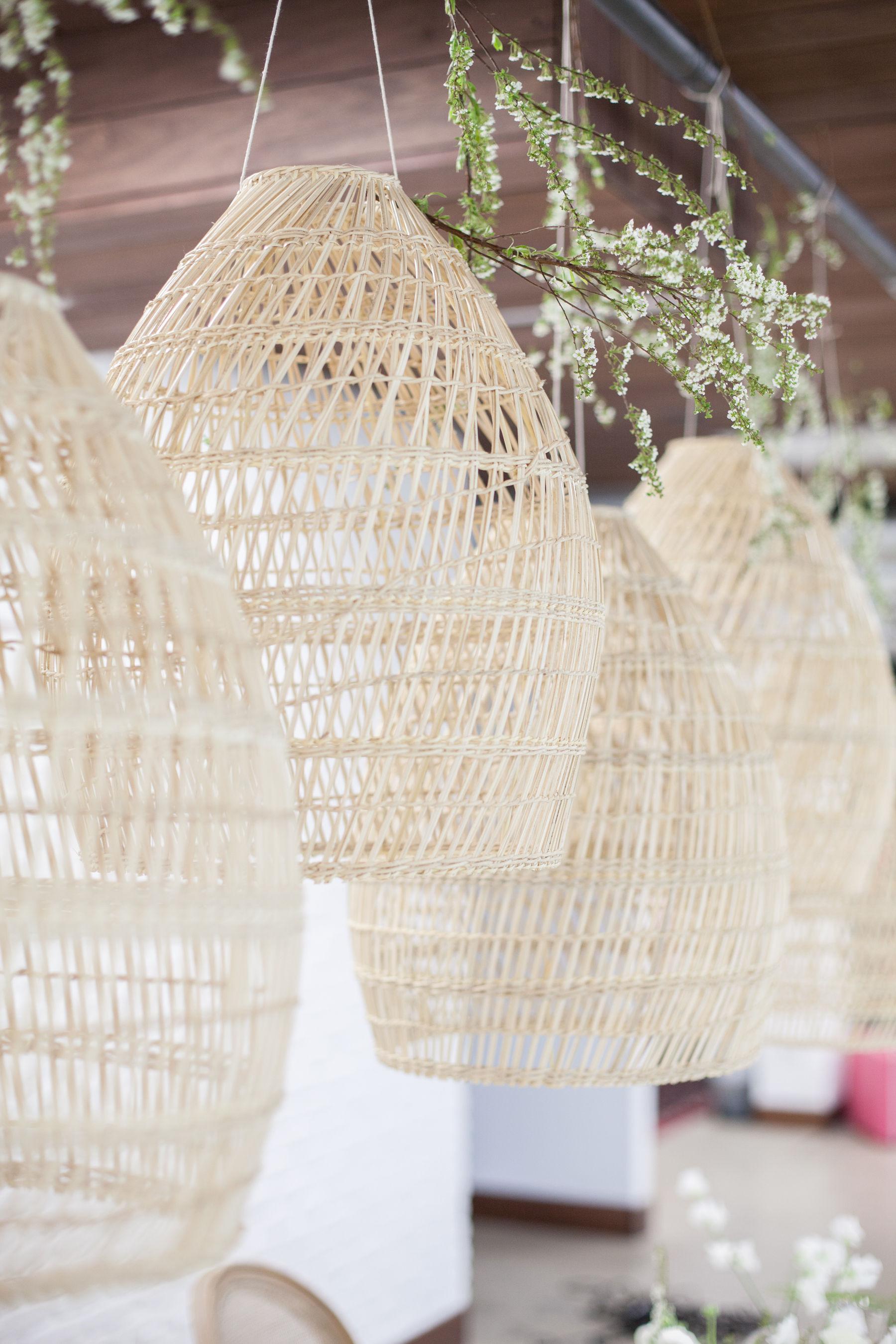 Hanging rattan lanterns