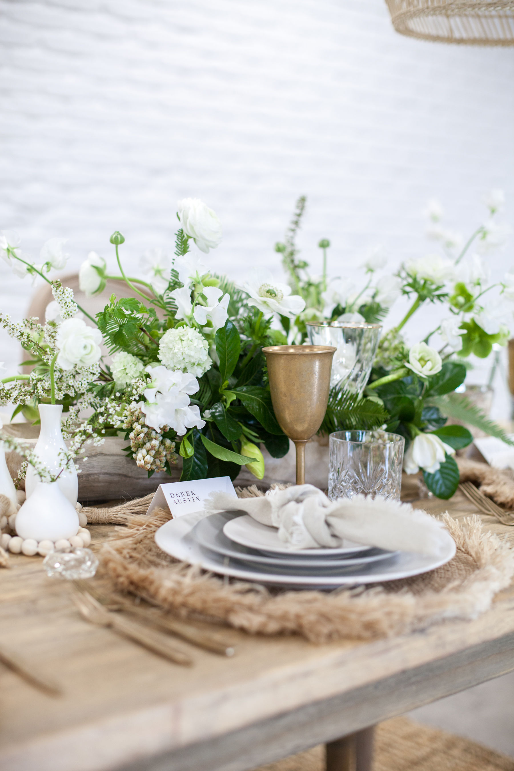 Grey and white coastal tablescape