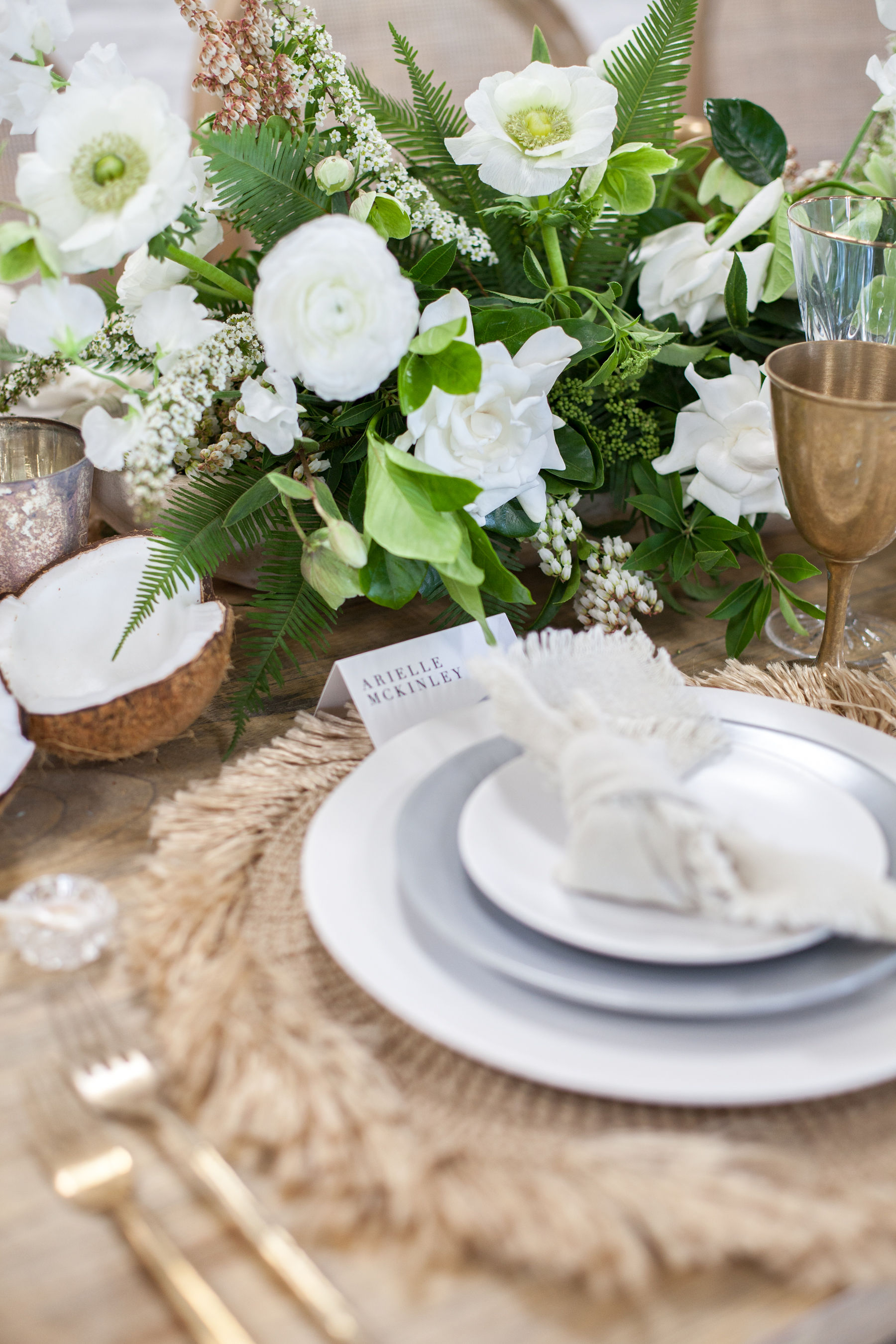 Grey and white tablescape