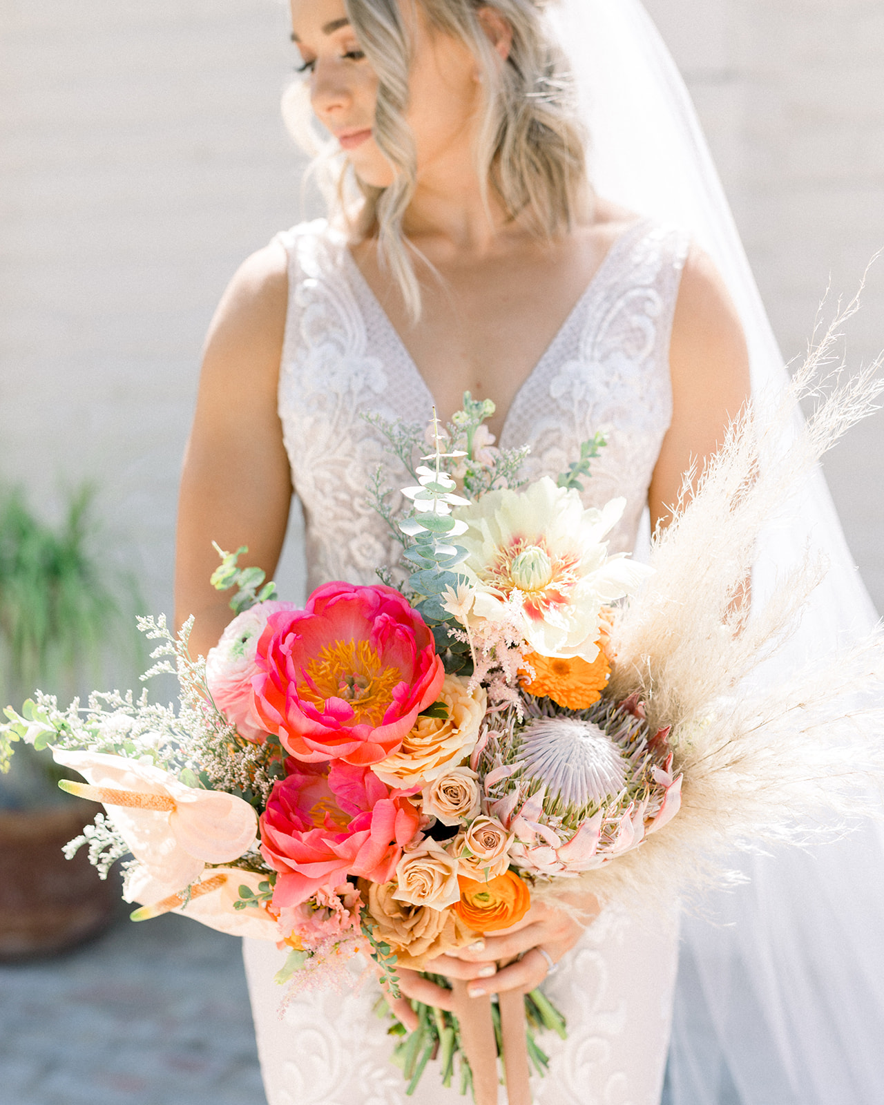 Pampas grass and protea bouquet by Lucky Day Events Co. x Goldie Blooms