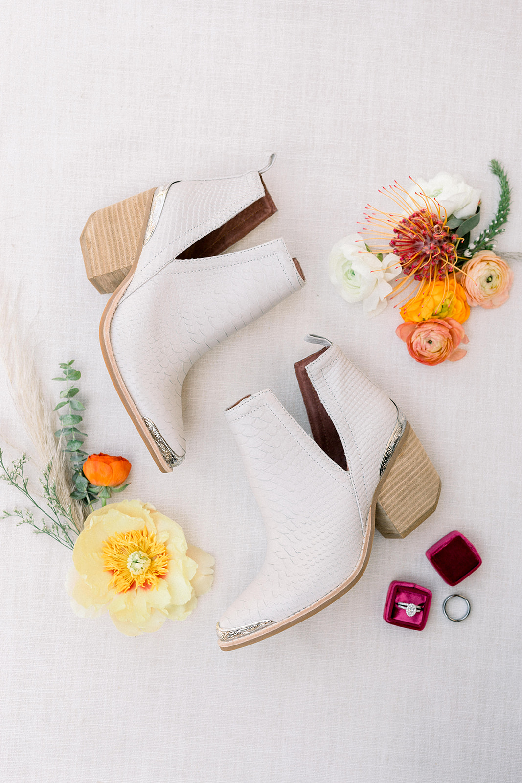 White wedding cowboy boots at colorful Palm Springs Wedding by Lucky Day Events Co.