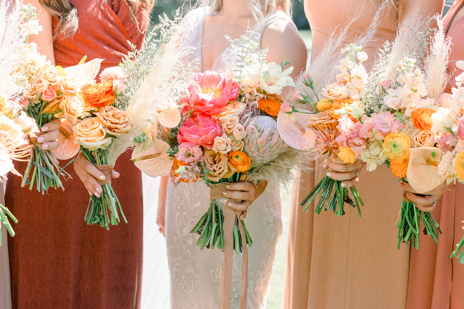 Pampas grass bridesmaids bouquets by Lucky Day Events Co. x Goldie Blooms