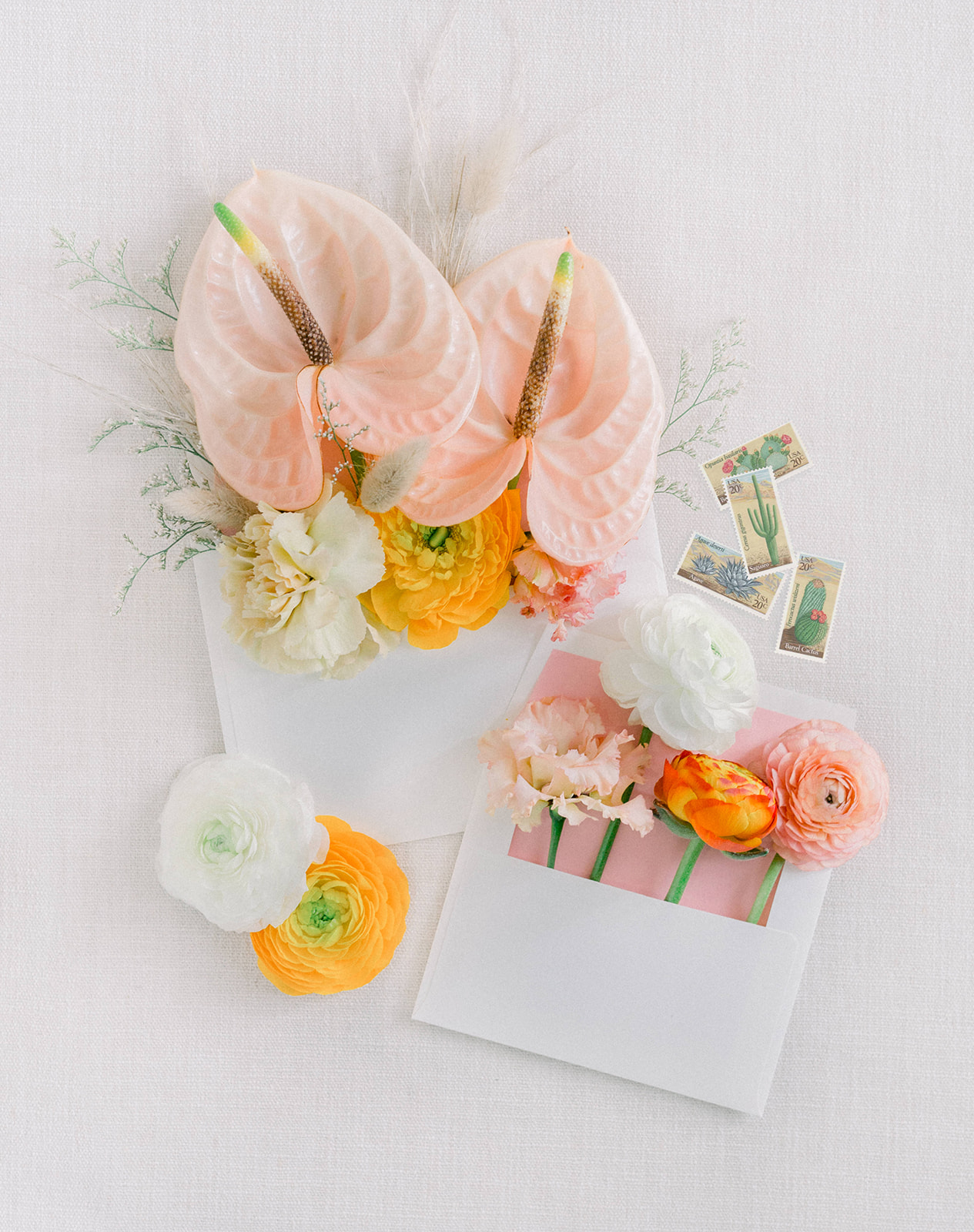 Colorful and bohemian wedding invitation suite by Lucky Day Events Co. x Our Story Creative