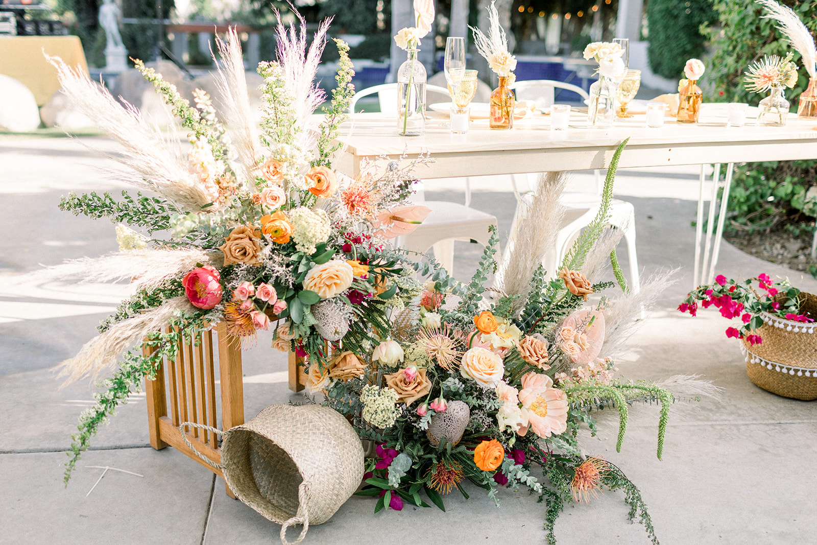Bright Bohemain sweetheart table at Cree Estate Wedding by Lucky Day Events Co.