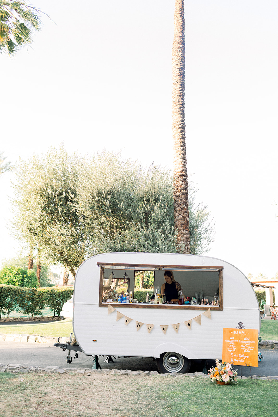 Mobile caravan bar at colorful Cree Estate Wedding by Luck Day Events Co.