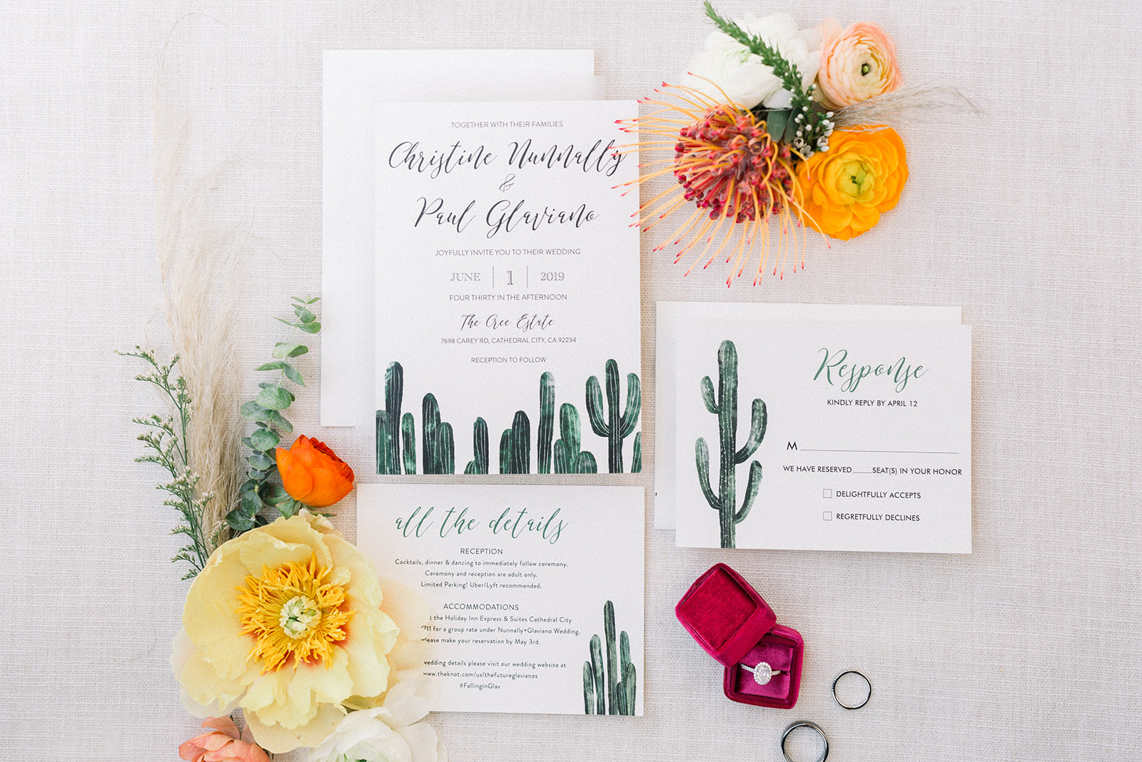 Colorful bohemian invitation suite