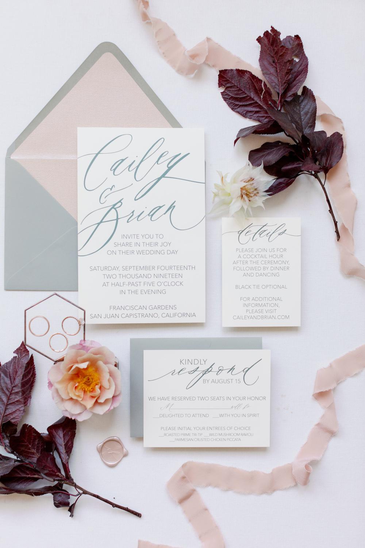White Blush and Grey Wedding Invitations