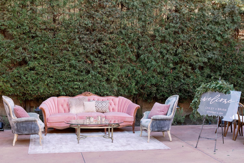 Pink and Grey Wedding Lounge Furniture