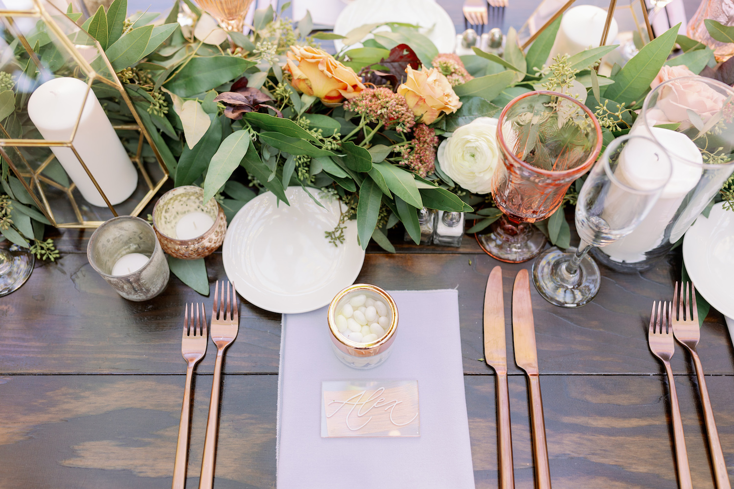 Rose Gold Flatware on Wedding Table.