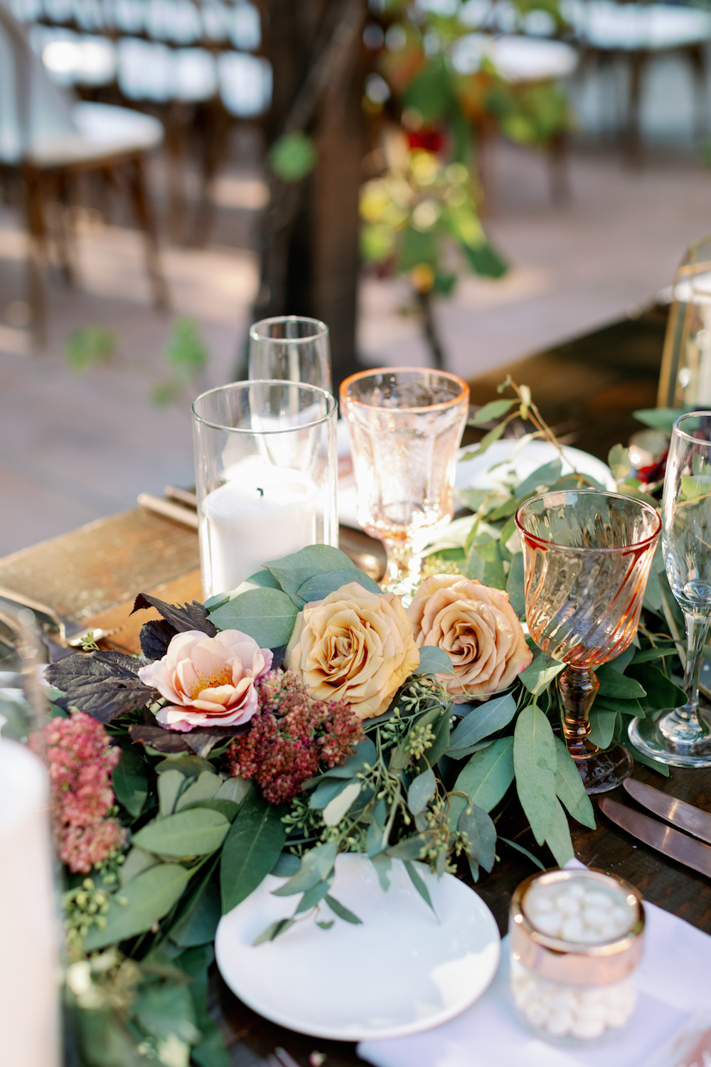 Rose Gold and Blush Wedding Table Setting