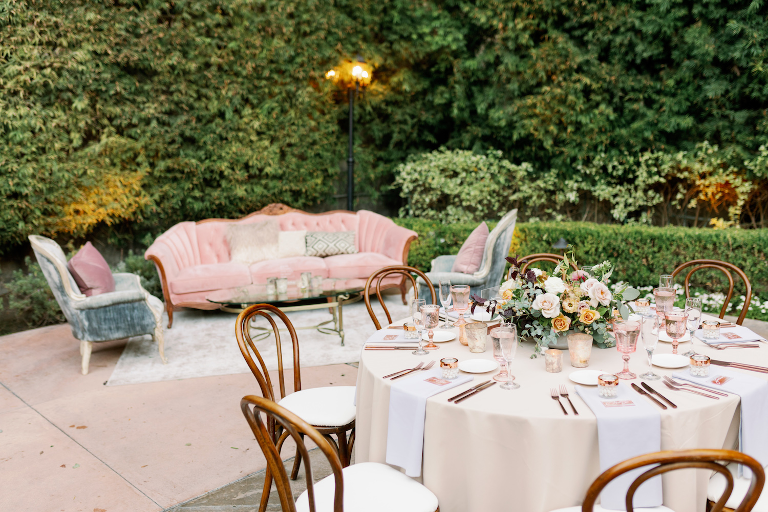 Pink and Grey Lounge at Wedding