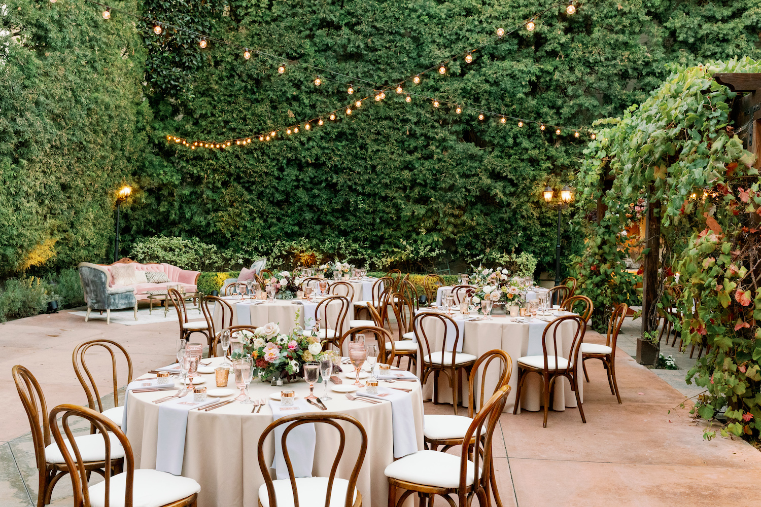 Round Blush Tables at Franciscan Gardens Wedding.