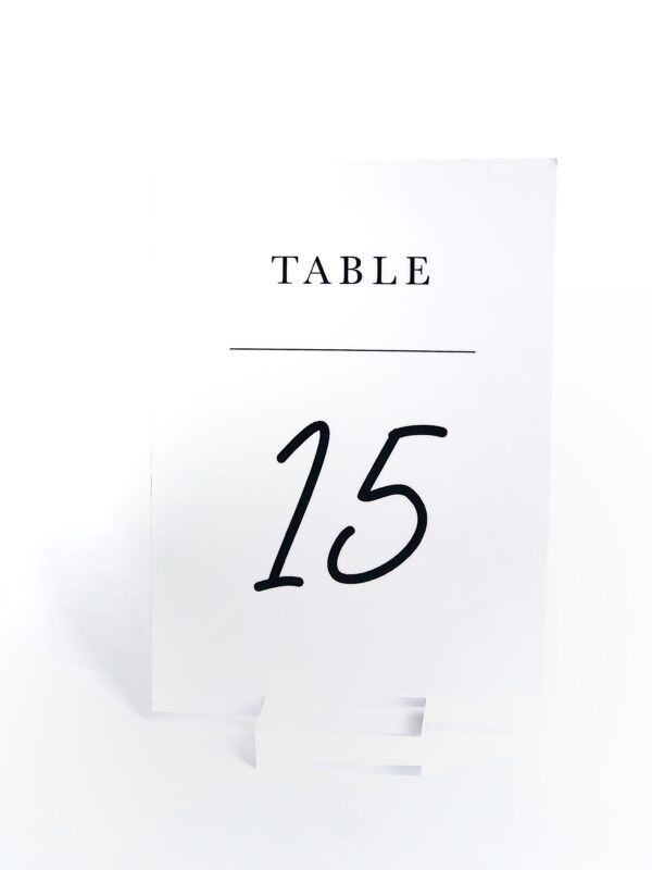 Black and White Table Number with Acrylic Stand