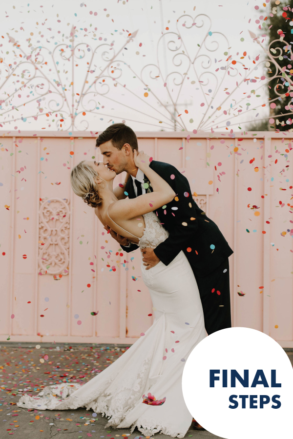The Final Steps! You're almost to your wedding day, now we have the last minute tools to help you get to the fun!
