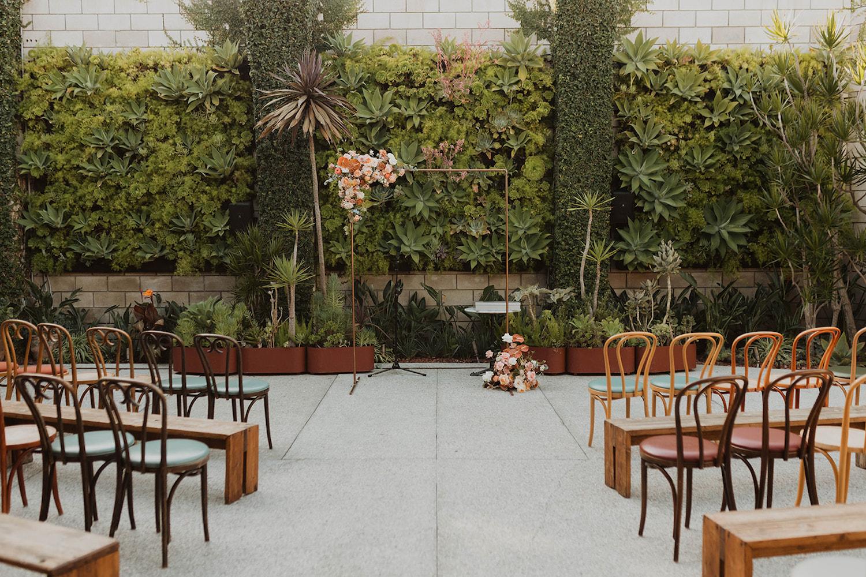 Copper Ceremony Arch at Smogshoppe Wedding