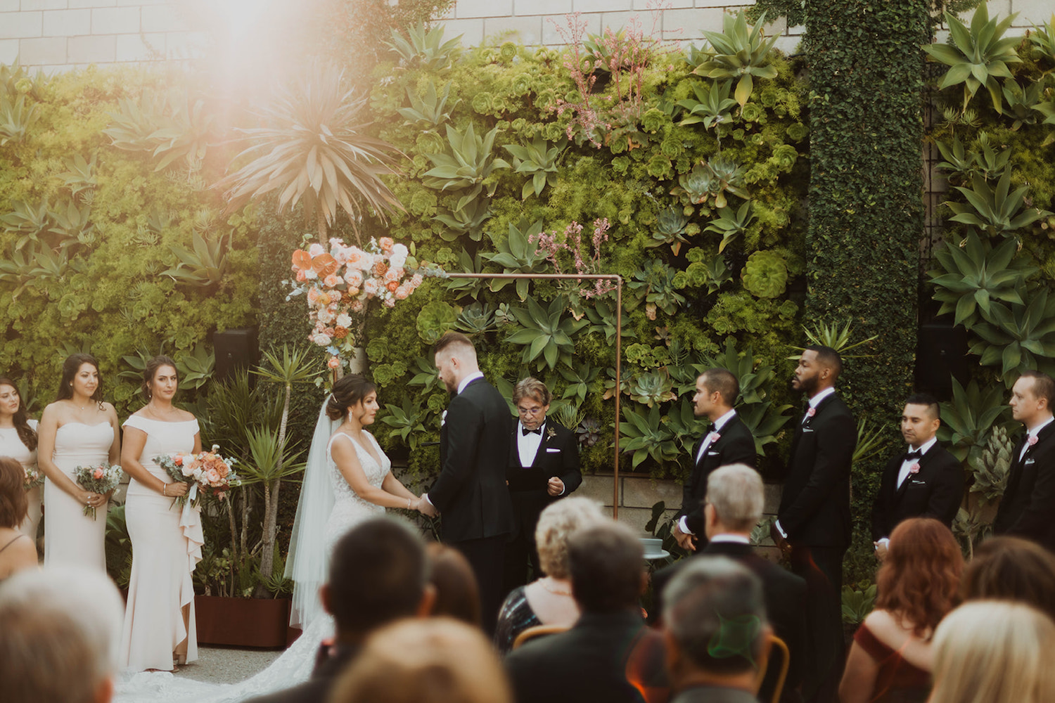 Copper Ceremony Arch at Smogshoppe Wedding in Downtown LA