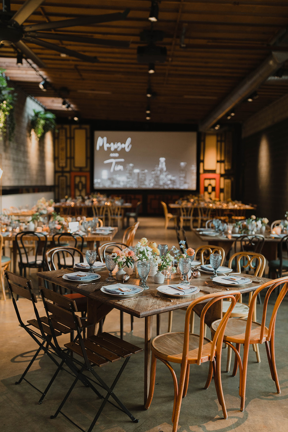 Modern Tropical Smogshoppe Wedding with Wooden Tables