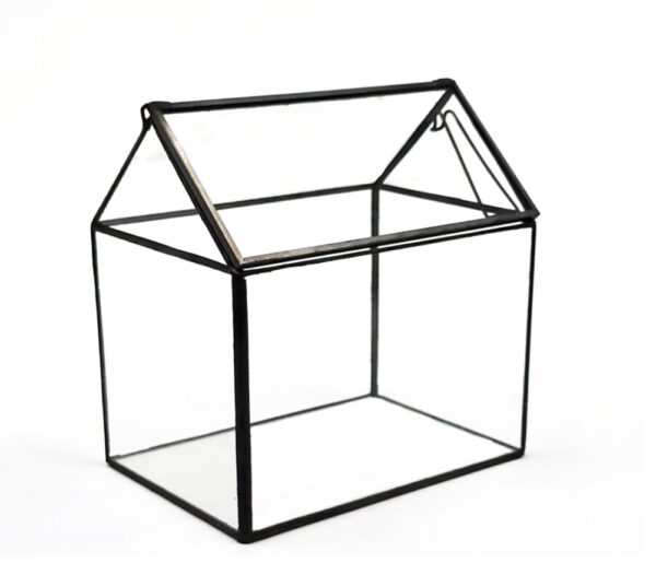 Black and Glass House Shaped Card Box