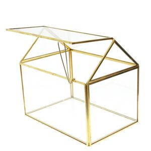 Lucky Rentals Gold and Glass House Card Box