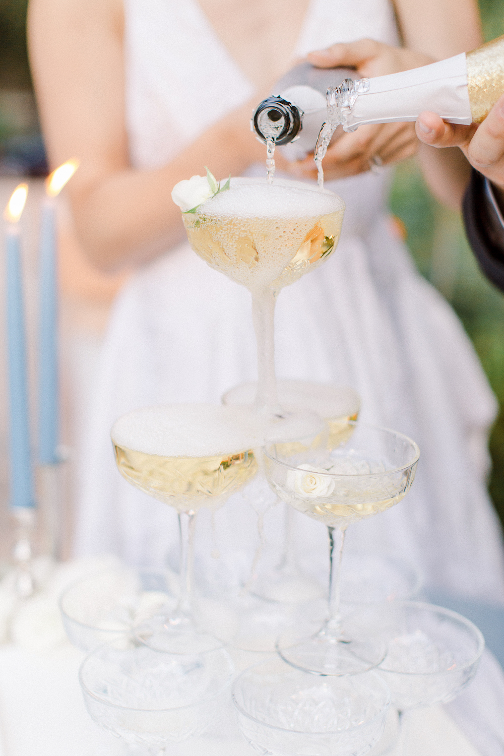 Rancho Las Lomas Micro-Wedding with Lucky Day Events Co. / Micro-Wedding / Intimate Wedding / Dusty Blue Wedding / Champagne Tower