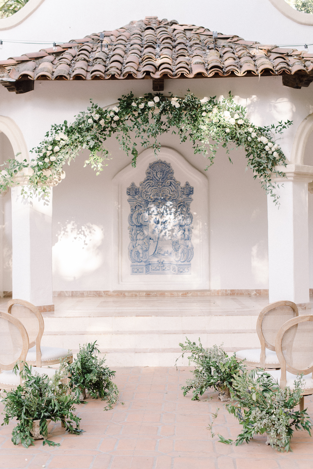 Micro-Wedding at Rancho Las Lomas by Lucky Day Events Co. / Dusty Blue Wedding Table / Intimate Wedding Table / Blue Wedding / Archive Rentals / Greenery Ceremony