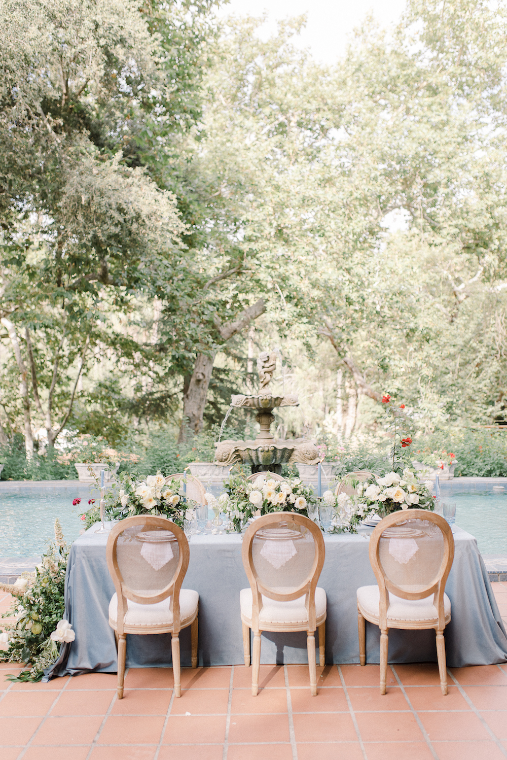 Micro-Wedding at Rancho Las Lomas by Lucky Day Events Co. / Dusty Blue Wedding Table / Intimate Wedding Table