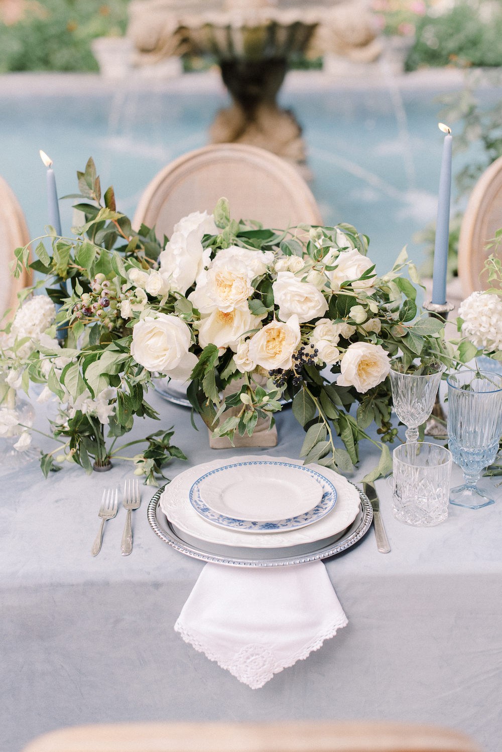 Micro-Wedding at Rancho Las Lomas by Lucky Day Events Co. / Dusty Blue Wedding Table / Intimate Wedding Table / Archive Rentals