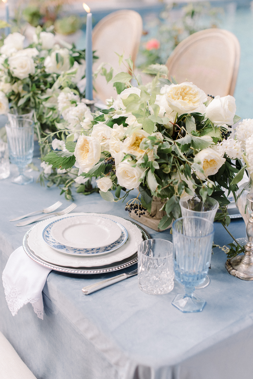 Micro-Wedding at Rancho Las Lomas by Lucky Day Events Co. / Dusty Blue Wedding Table / Intimate Wedding Table / Blue Wedding