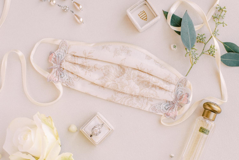 Rancho Las Lomas Micro-Wedding with Lucky Day Events Co. / Micro-Wedding / Intimate Wedding / Dusty Blue Wedding / Bridal Mask / Bride Face Mask