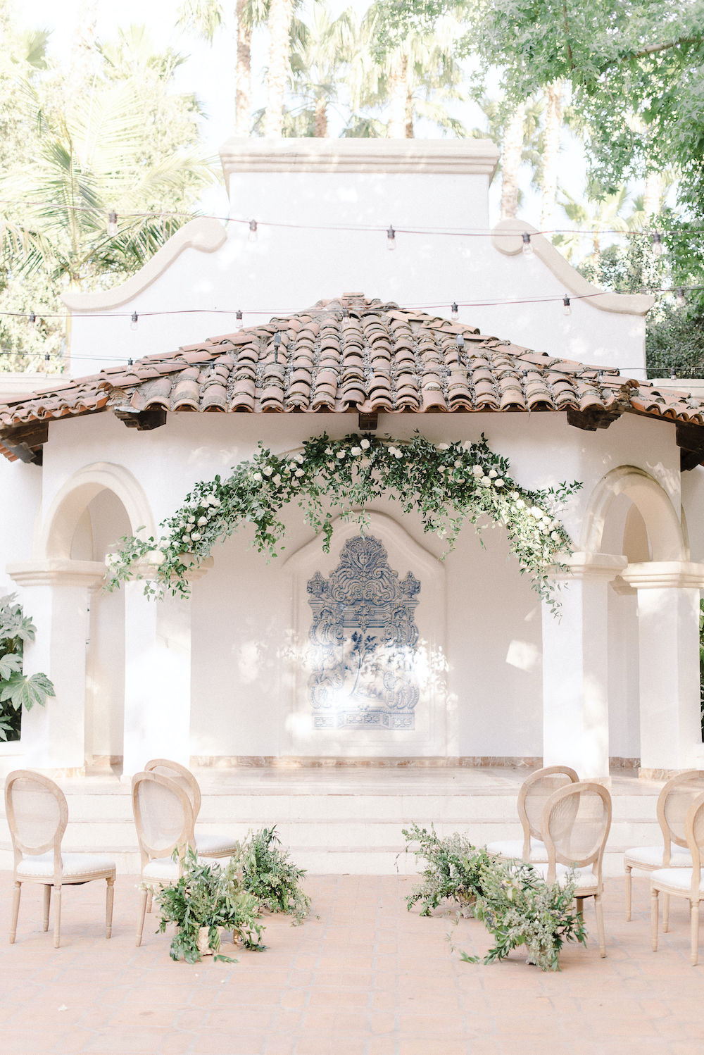 Micro-Wedding at Rancho Las Lomas by Lucky Day Events Co. / Dusty Blue Wedding Table / Intimate Wedding Table / Blue Wedding / Greenery Reception