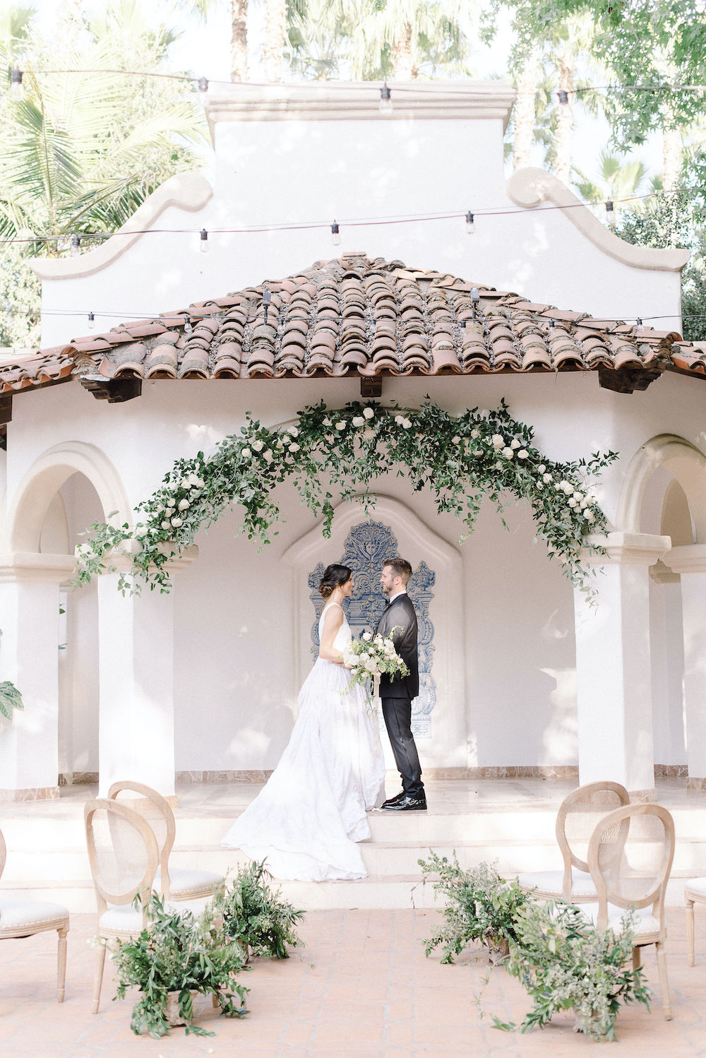 Micro-Wedding at Rancho Las Lomas by Lucky Day Events Co. / Dusty Blue Wedding Table / Archive Rentals