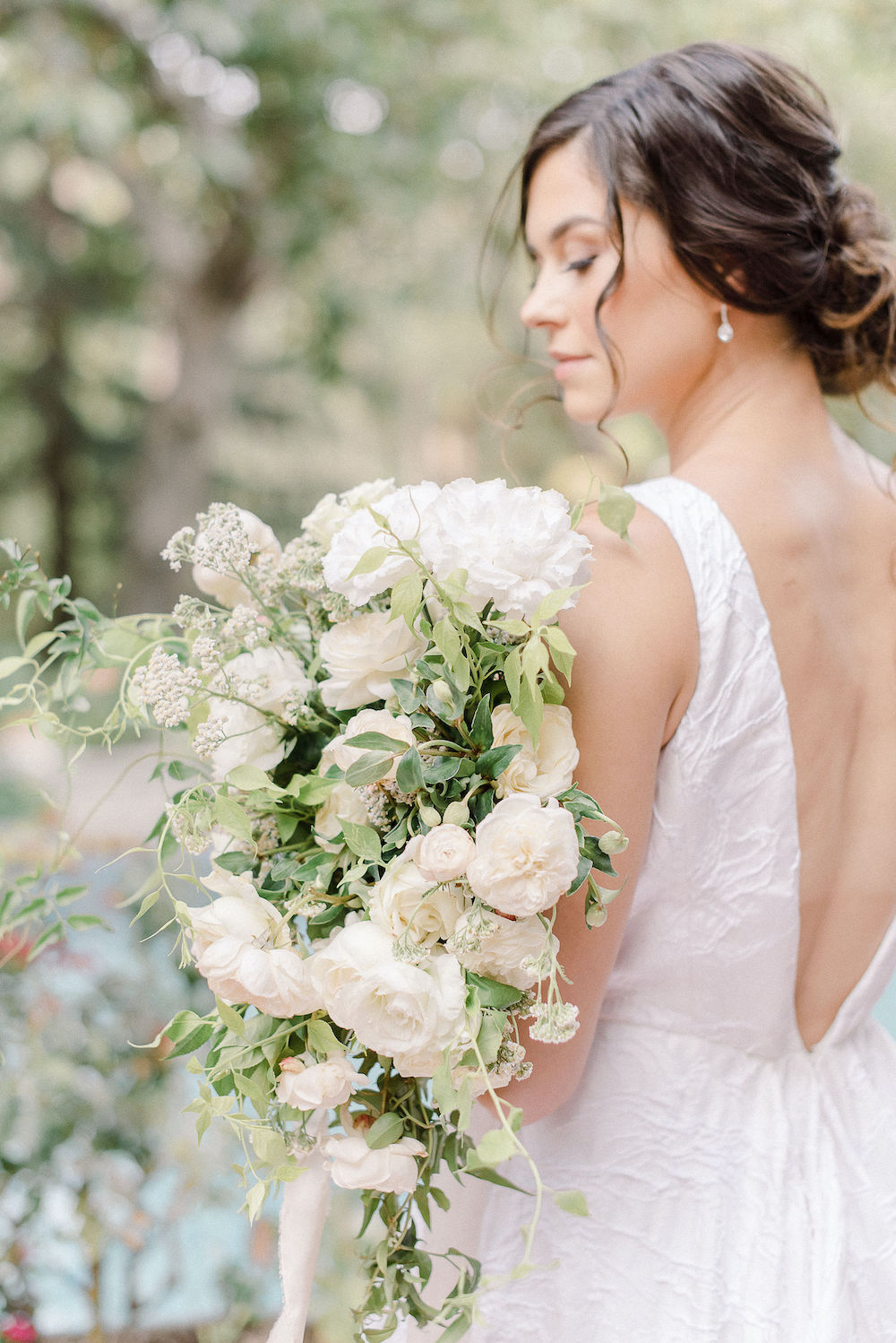 Micro-Wedding at Rancho Las Lomas by Lucky Day Events Co. / Dusty Blue Wedding Table / Archive Rentals / White Bouquet