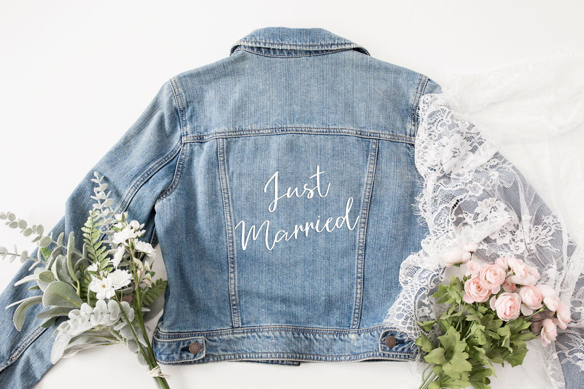 Just Married DIY Jacket with SVG File from Zola